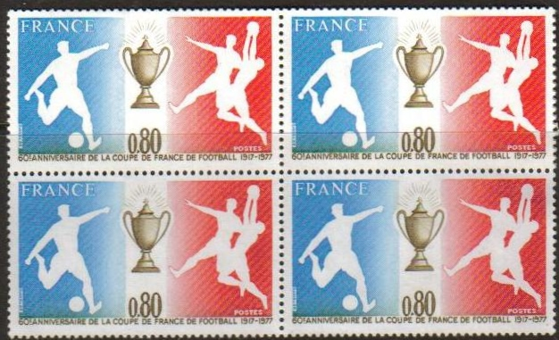 France Scott 1549, MNH, BL4, Soccer and Cup, Block of 4, Mint Ne