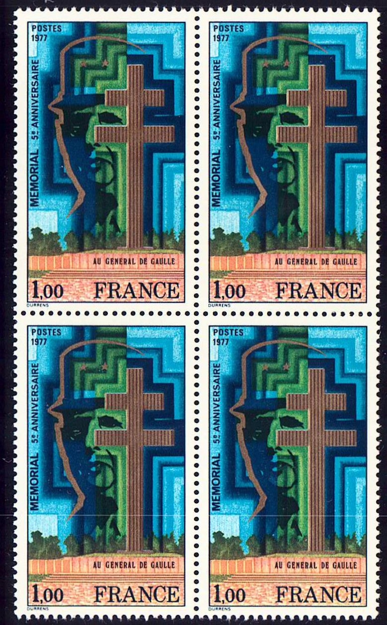 France Scott 1550, BL4 MNH, Chales De Gaulle Memorial, Block of