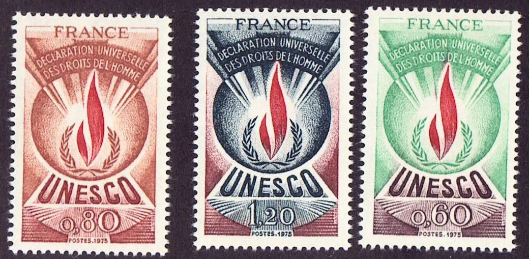 France Scott 2013-2015, MNH, set of 3, UNESCO, 1975 issue MNH