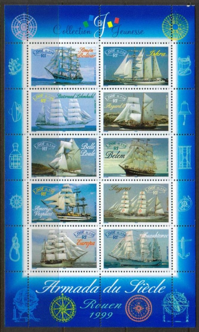 France Scott 2736, MNH, Tall ships Rouen, sheet of 10