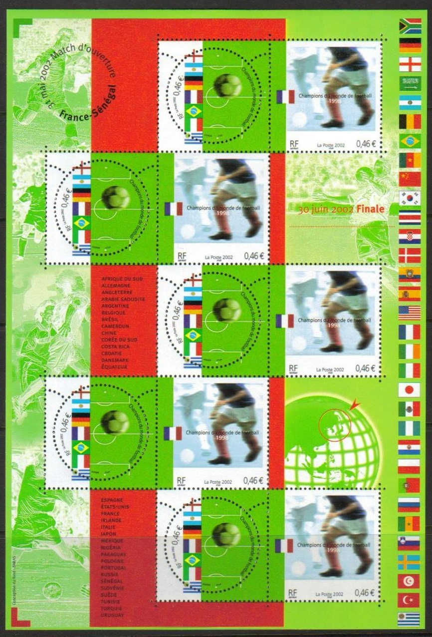 France Scott 2891, MNH, Soccer Championship special sheet of 10