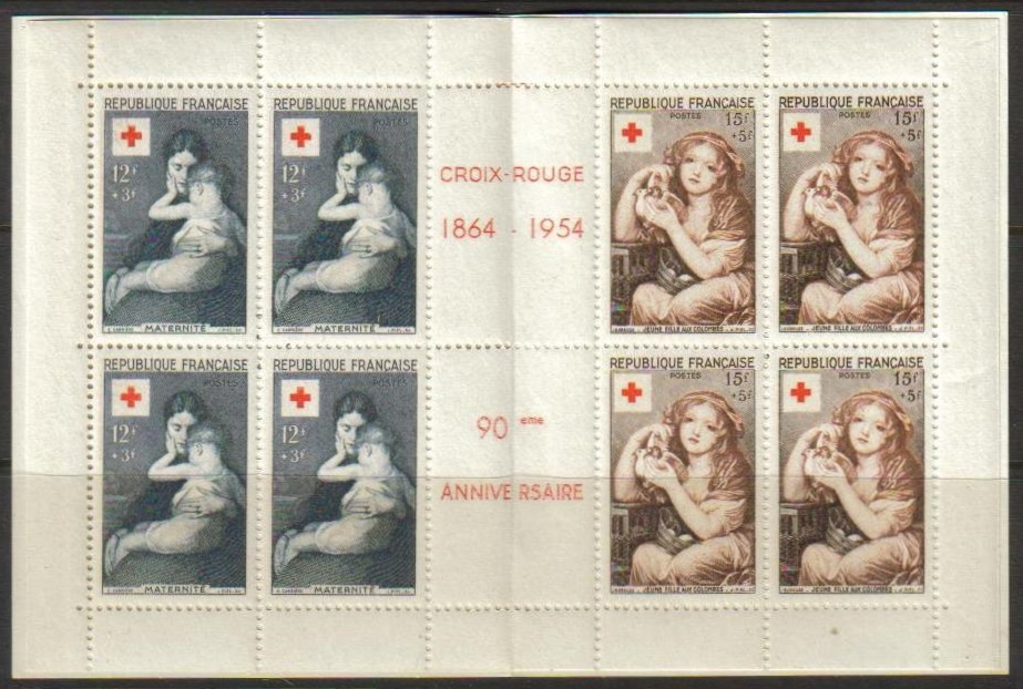 France Scott B-291a, MNH, 1954 Red Cross Booklet, pane of 4 sets