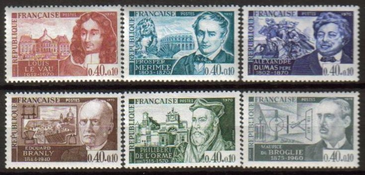 France Scott B-434-439, MNH, complete set of 6 surcharge stamps