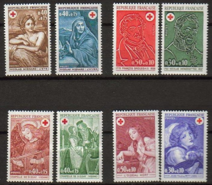 France Scott B-443-444, MNH, Red Cross, 4 sets of 2, all MNH