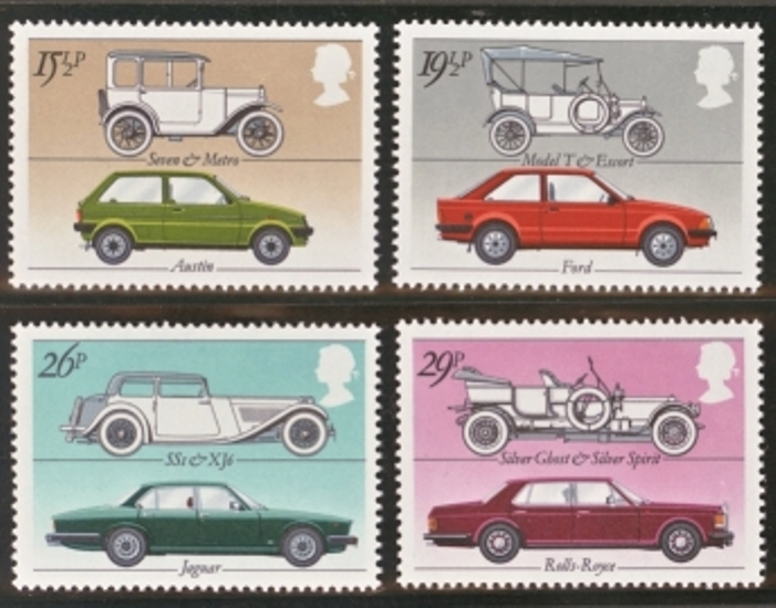 Great Britain Scott 1002-1005, MNH, 1982 cars set of 5