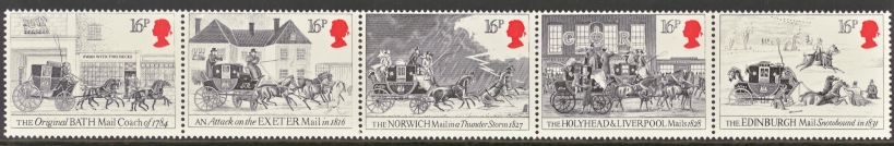 Great Britain Scott 1062-1066, MNH, 1984 strip of 5 Mail Coach,