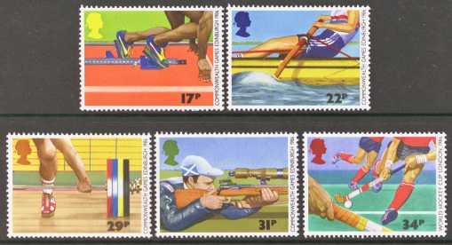 Great Britain Scott 1149-1153, MNH, 1986 Commonwealth Games, Spo