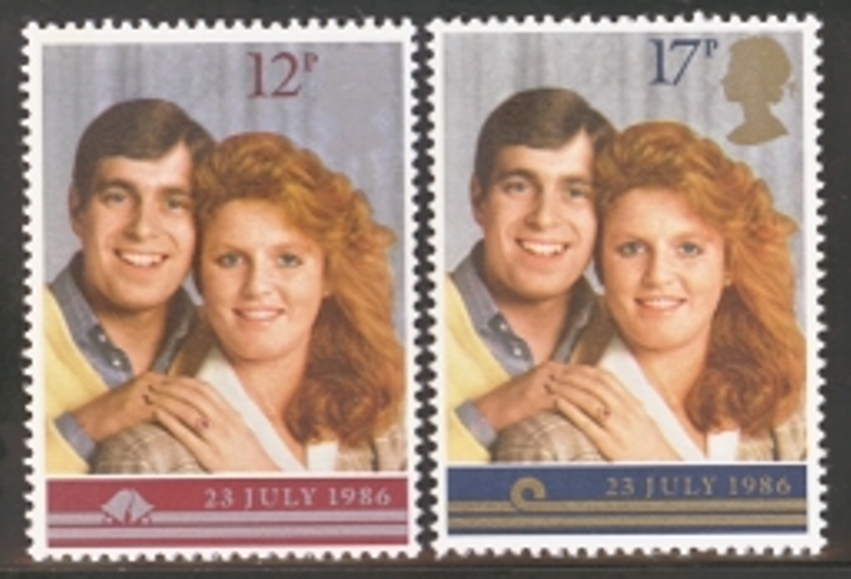 Great Britain Scott 1154-1155, MNH, 1986 Prince Andrew Wedding,