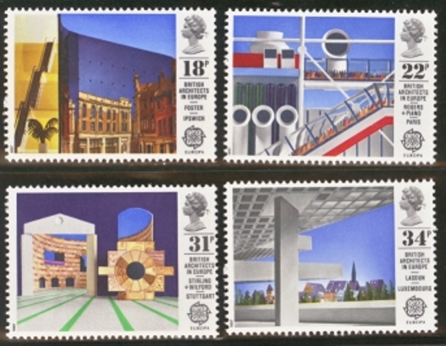 Great Britain Scott 1176-1179, MNH, 1987 Europa Buildings, set o
