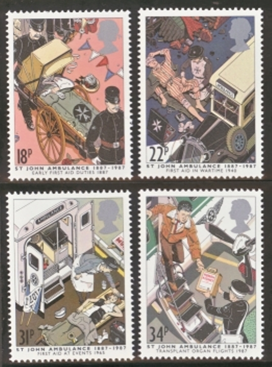 Great Britain Scott 1180-1183, MNH, 1987 St. John Ambulance set