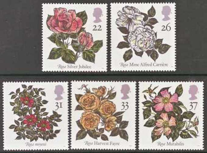 Great Britain Scott 1382-1386, MNH, Roses, set of 5