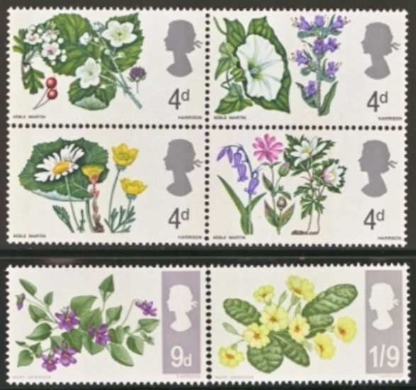 Great Britain Scott 0488-0493, MNH, 1967 Flowers set of 6