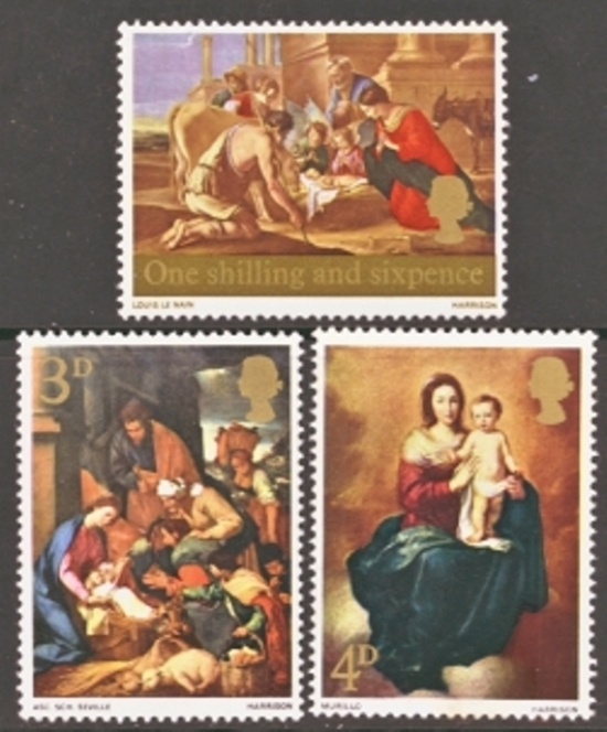 Great Britain Scott 0522-0524, MNH, 1967 Christmas set of 3