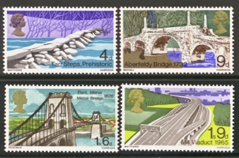 Great Britain Scott 0560-0563, MNH, 1968 Bridges, set of 4