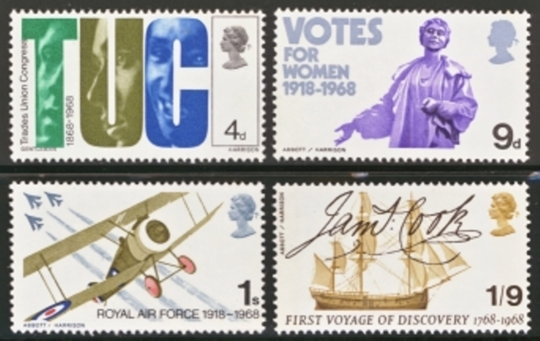 Great Britain Scott 0564-0567, MNH, 1968 Anniversaries, set of 4