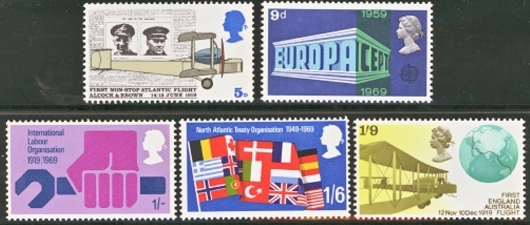 Great Britain Scott 0584-0588, MNH, 1969 Anniversaries set of 5
