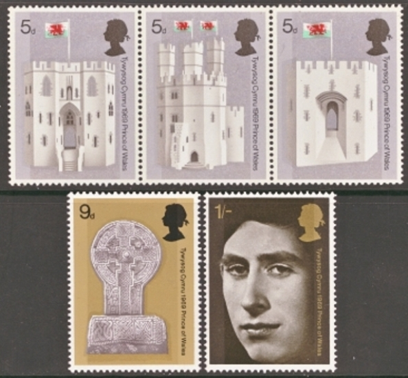 Great Britain Scott 0595-0599, MNH, 1969 Prince of Wales Investi