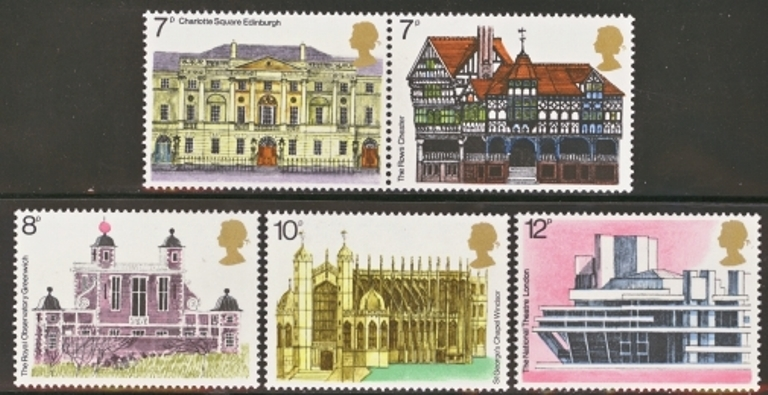 Great Britain Scott 0740-0744, MNH, 1975 Architectural Heritage,
