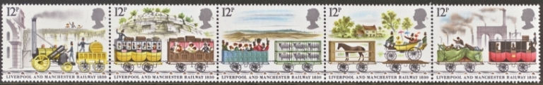 Great Britain Scott 0904-0908, MNH, 1980 Rocket Locomotive,  com