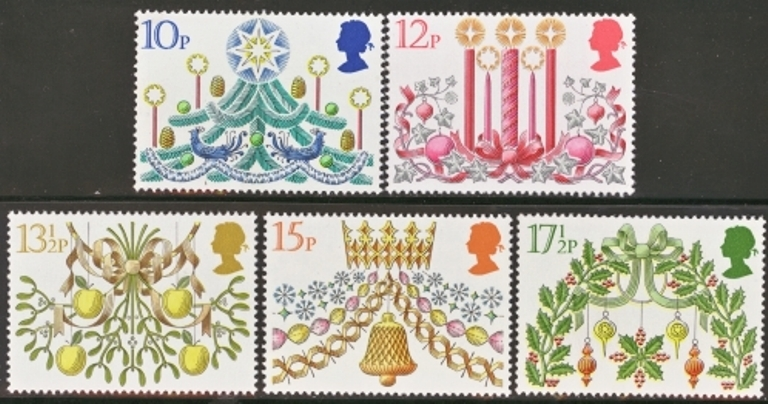 Great Britain Scott 0928-0932, MNH, 1980 Christmas Tree,  comple