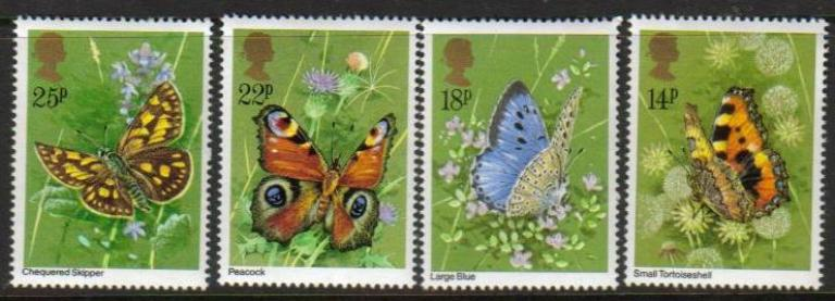 Great Britain Scott 0941-0944, MNH, 1981 Small Tortoiseshell, co