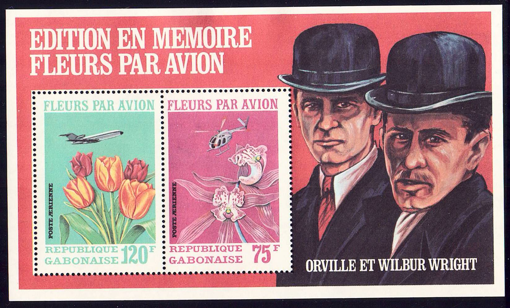 Gabon Scott C111a MNH Wright Brothers Flight large S/S Flowers a