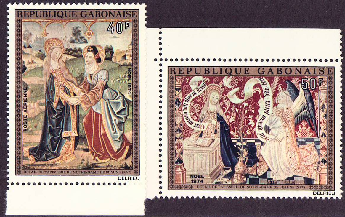 Gabon Scott C-157-158, MNH, 1974 Paintings, Tapestry, Notre Dame
