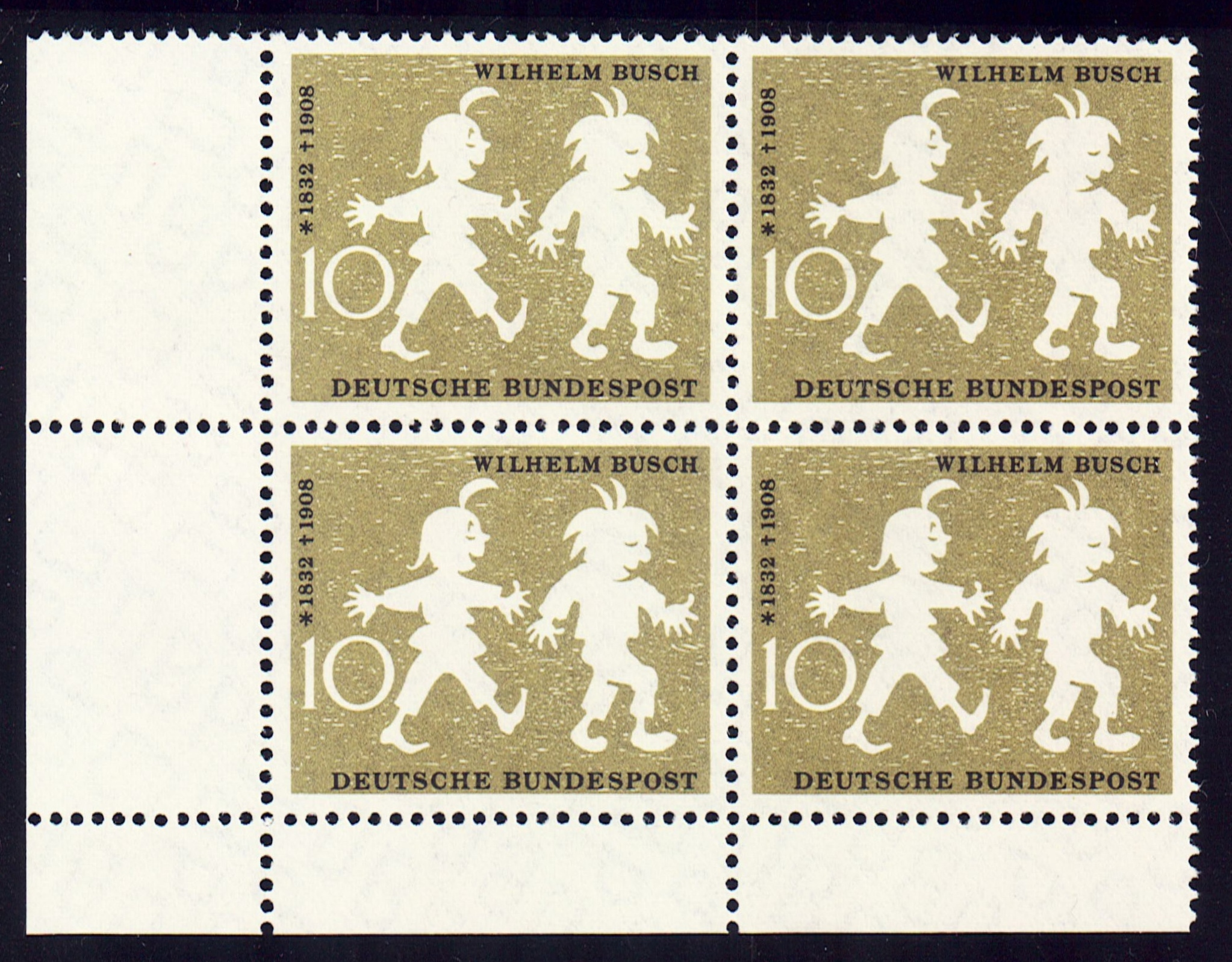 Germany Scott 0780, MNH, Block of 4, BL4, Max and Moritz, Wilhel