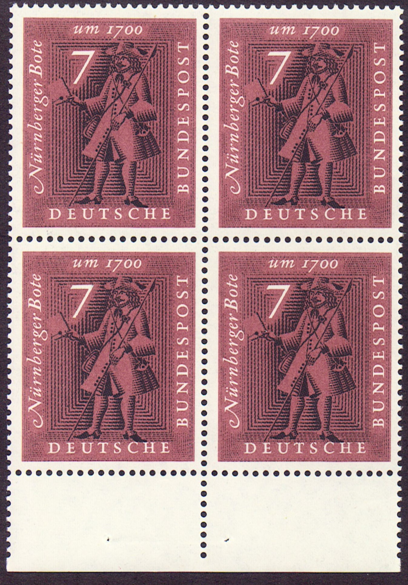 Germany Scott 0842, MNH, Block of 4, BL4, Messenger Nuremberg 18
