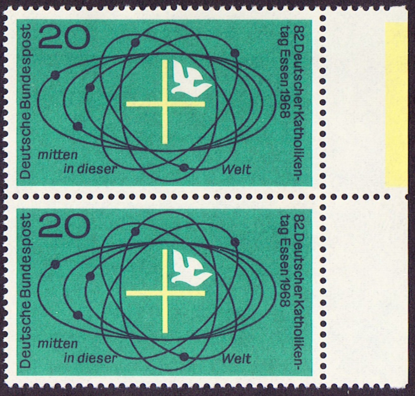 Germany Scott 0989, MNH, Pair, Cross and Dove in Universe