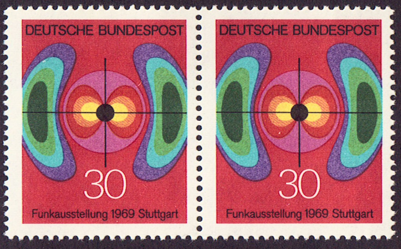 Germany Scott 1005, MNH, Pair, Electromagnetic Field