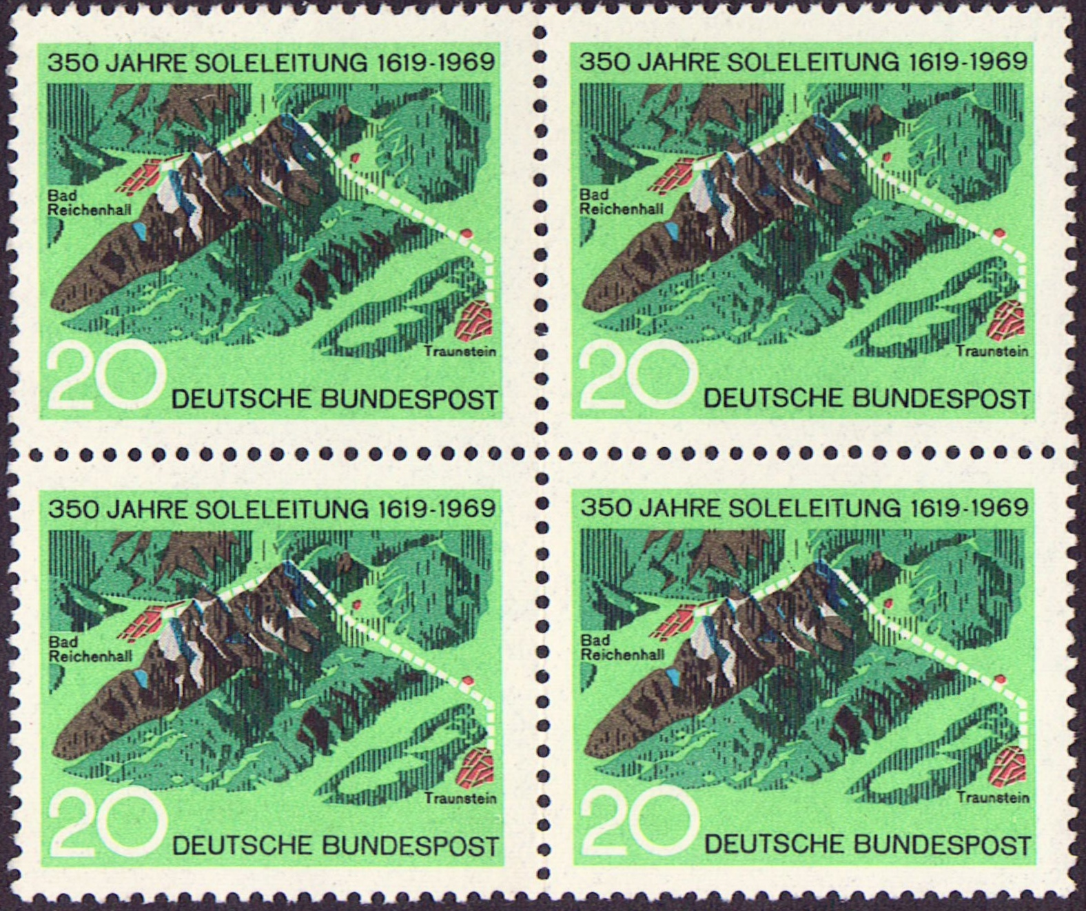 Germany Scott 1009, MNH, Block of 4, BL4, Brine Pipe Line, Solel