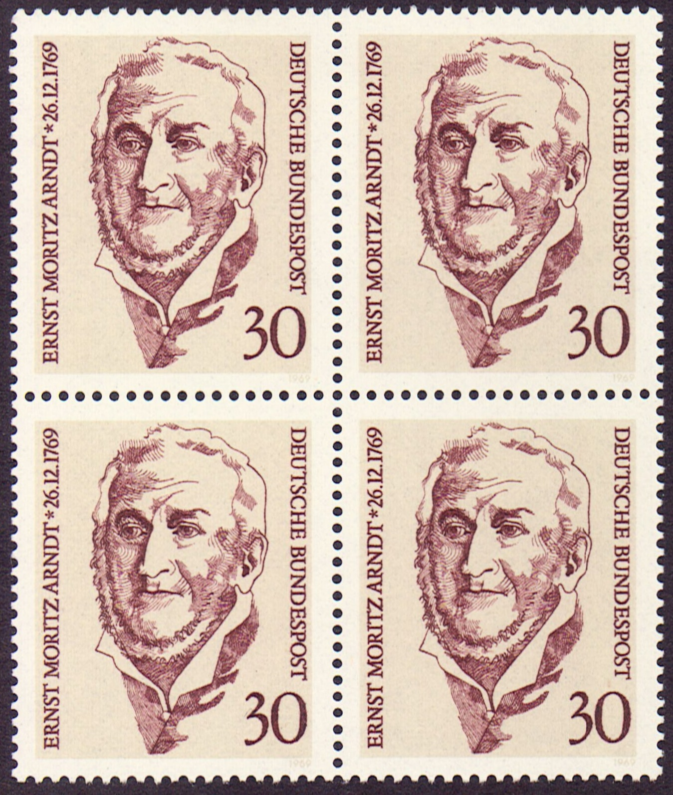Germany Scott 1013, MNH, Block of 4, BL4, Ernst Moritz Arndt