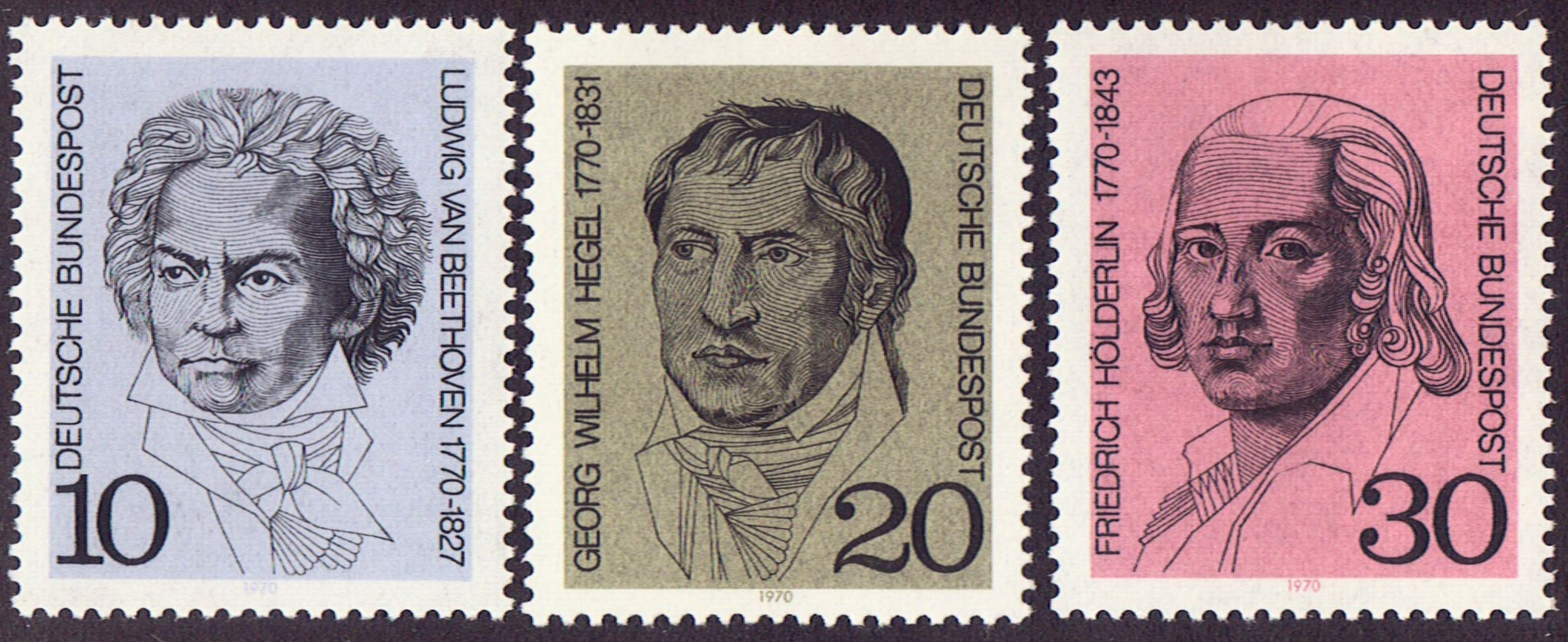 Germany Scott 1014-16, MNH, Beethoven, Wilhelm Hegel, Holderlin