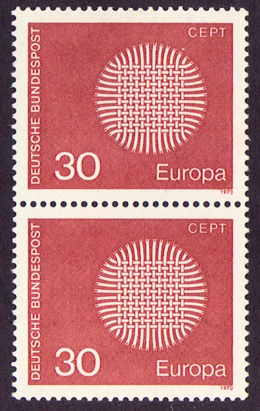 Germany Scott 1019, MNH, Pair 30 pf of Europa 1970