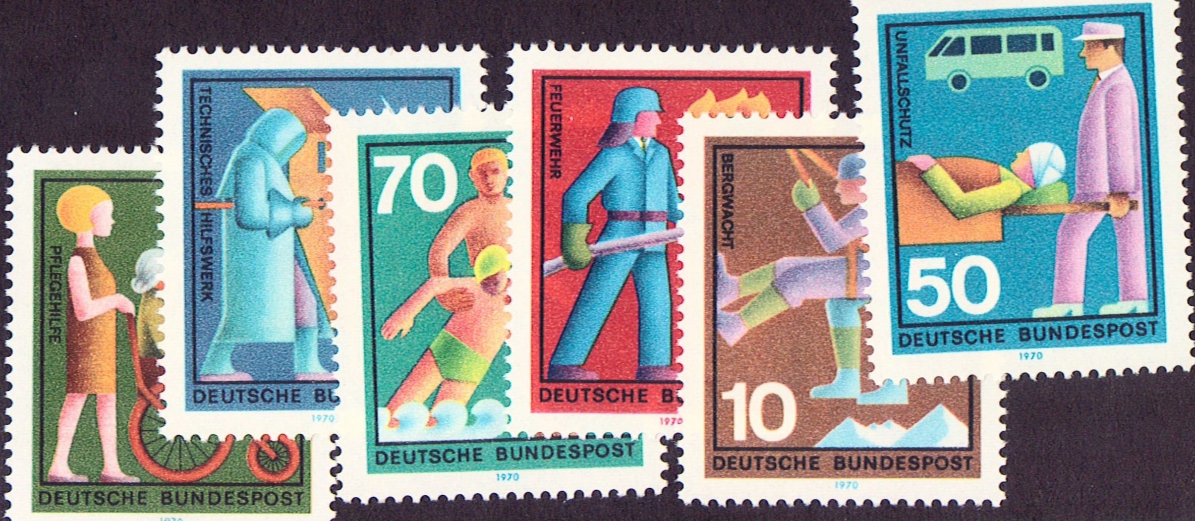 Germany Scott 1022-1027, MNH, voluntary services, set of 6
