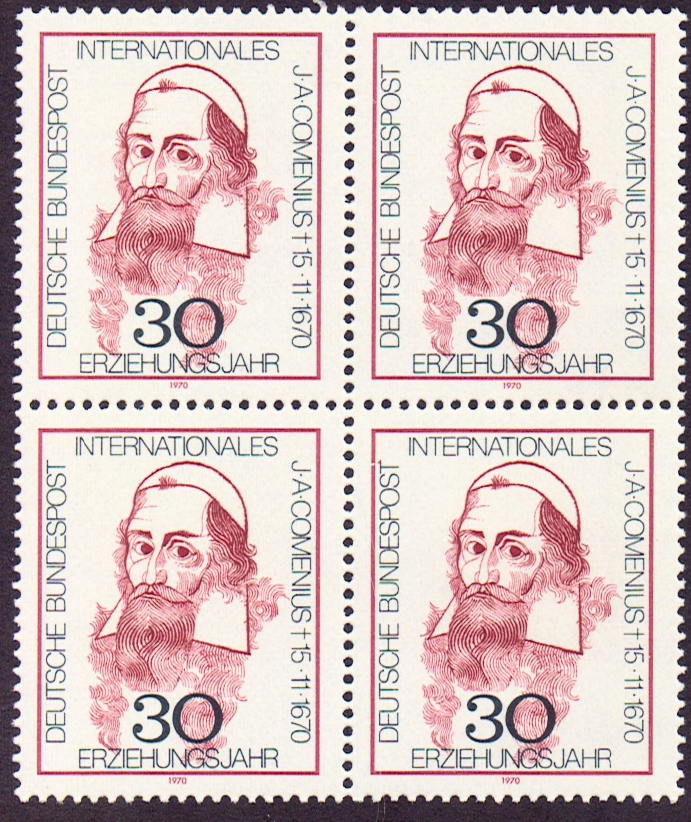 Germany Scott 1050, MNH, Block of 4, BL4, Comenius, 1670