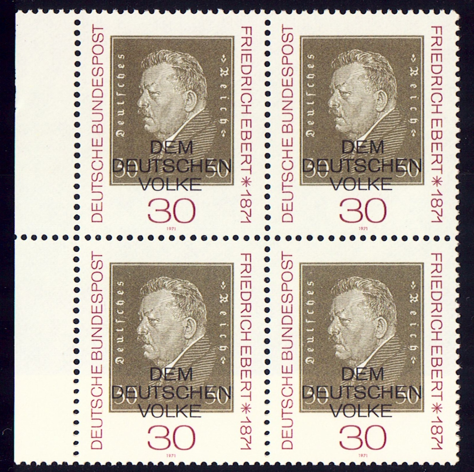 Germany Scott 1053, MNH, Block of 4, BL4, Friedrich Ebert, 1871