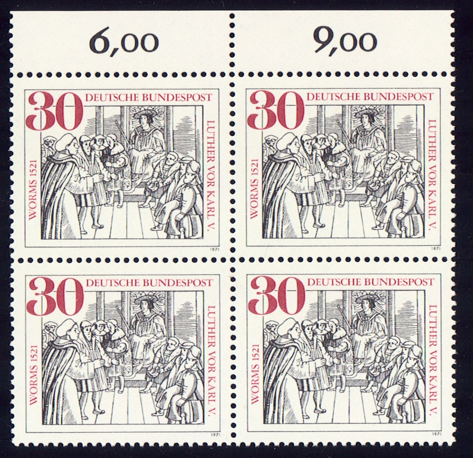 Germany Scott 1063, MNH, Block of 4, BL4, Luther Facing Charles