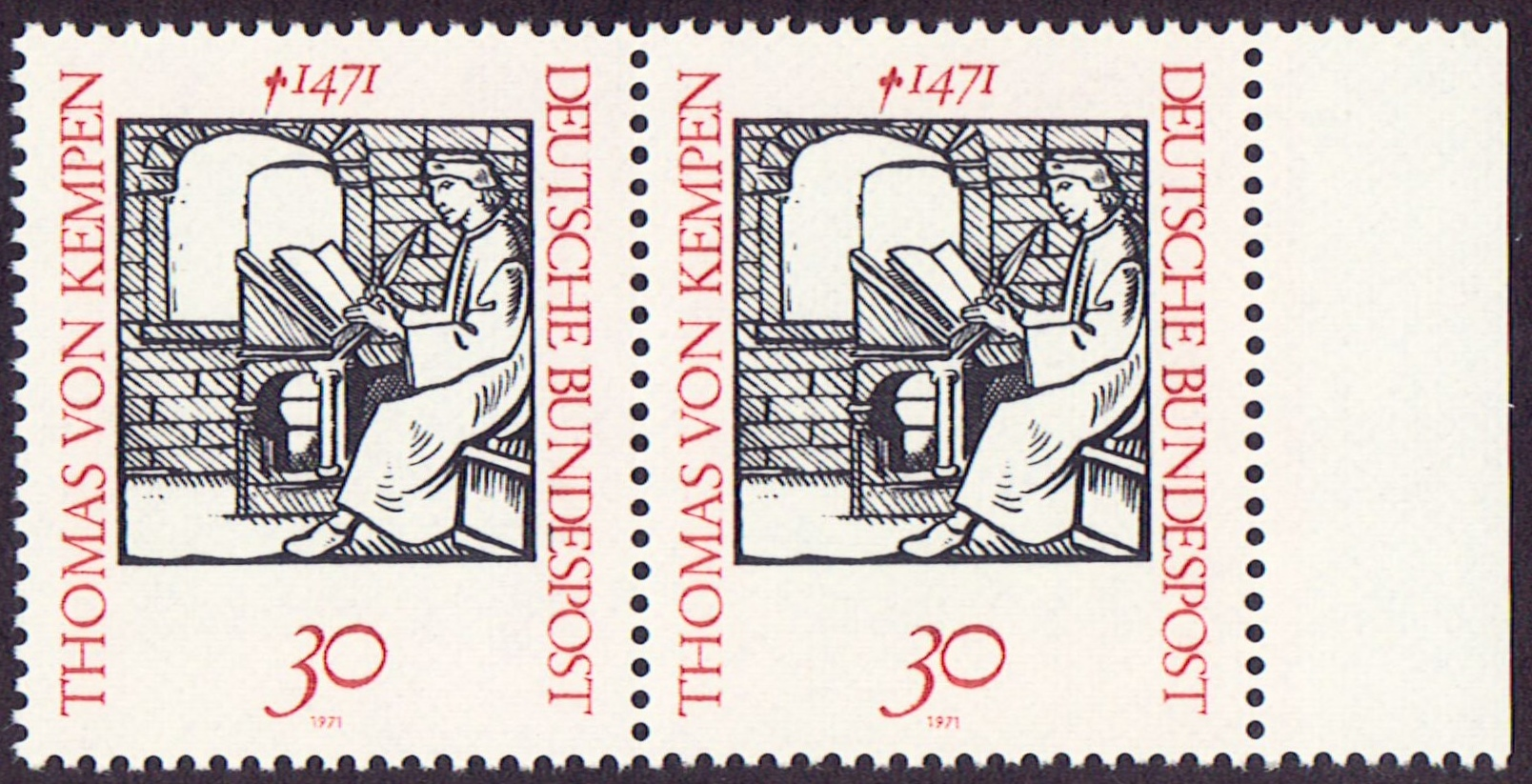 Germany Scott 1066, MNH, Pair, Thomas Von Kempen, 1471