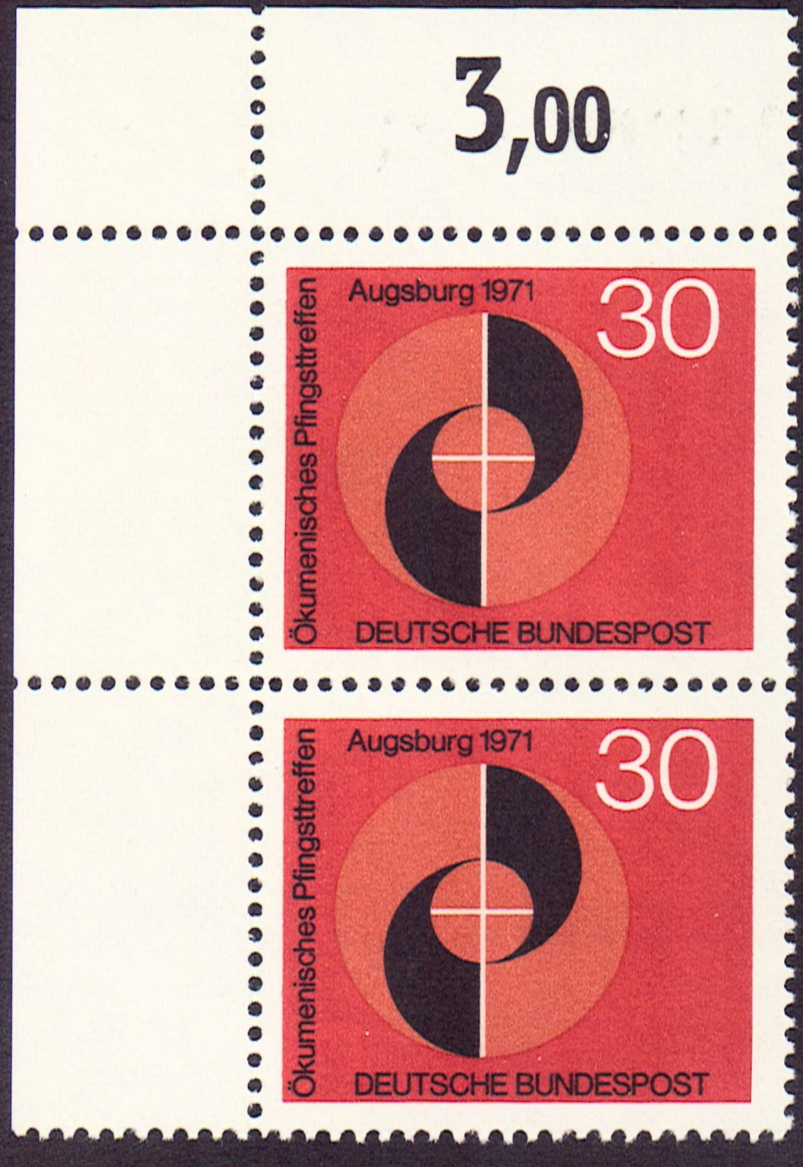 Germany Scott 1071, MNH, Pair, Congress Emblem, Augsburg 1971