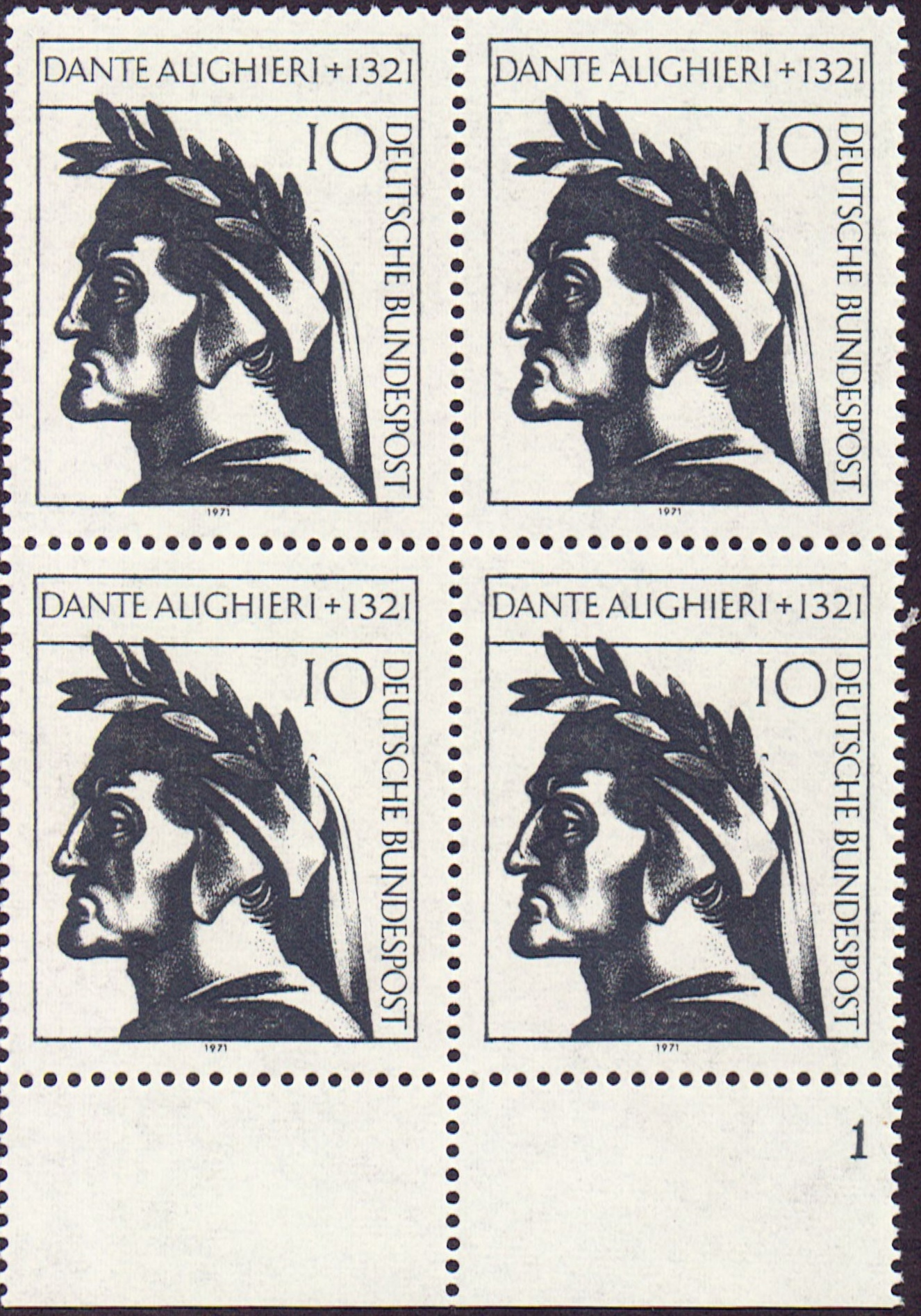Germany Scott 1073, MNH, Block of 4, BL4, Dante Alighieri of 132