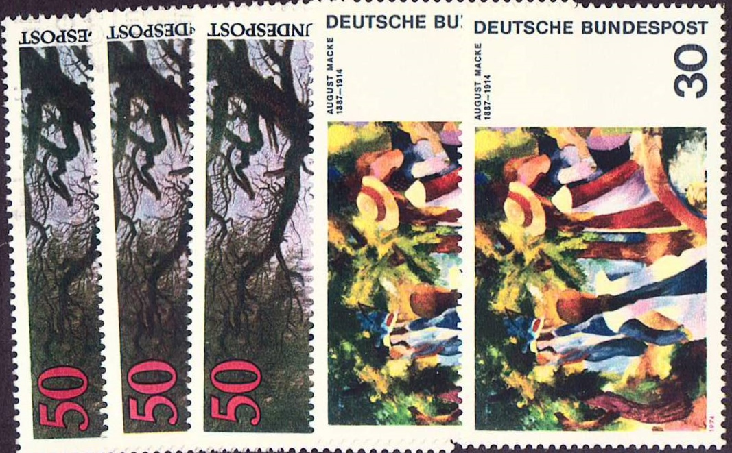 Germany Scott 1136, 1138 only, MNH, 2+3 pieces Expressionist pai