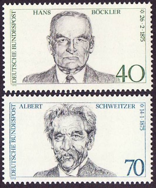 Germany Scott 1159-1160, MNH, Albert Schweitzer, Hans Bockler, s