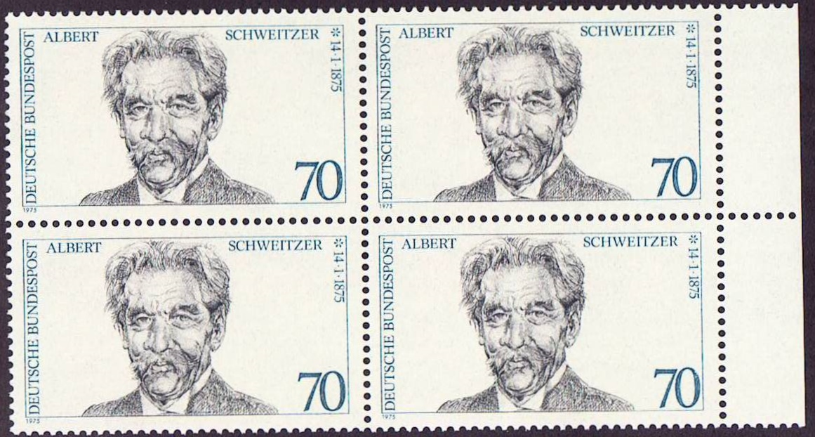 Germany Scott 1160, MNH, Block of 4, BL4, Only Albert Schweitzer