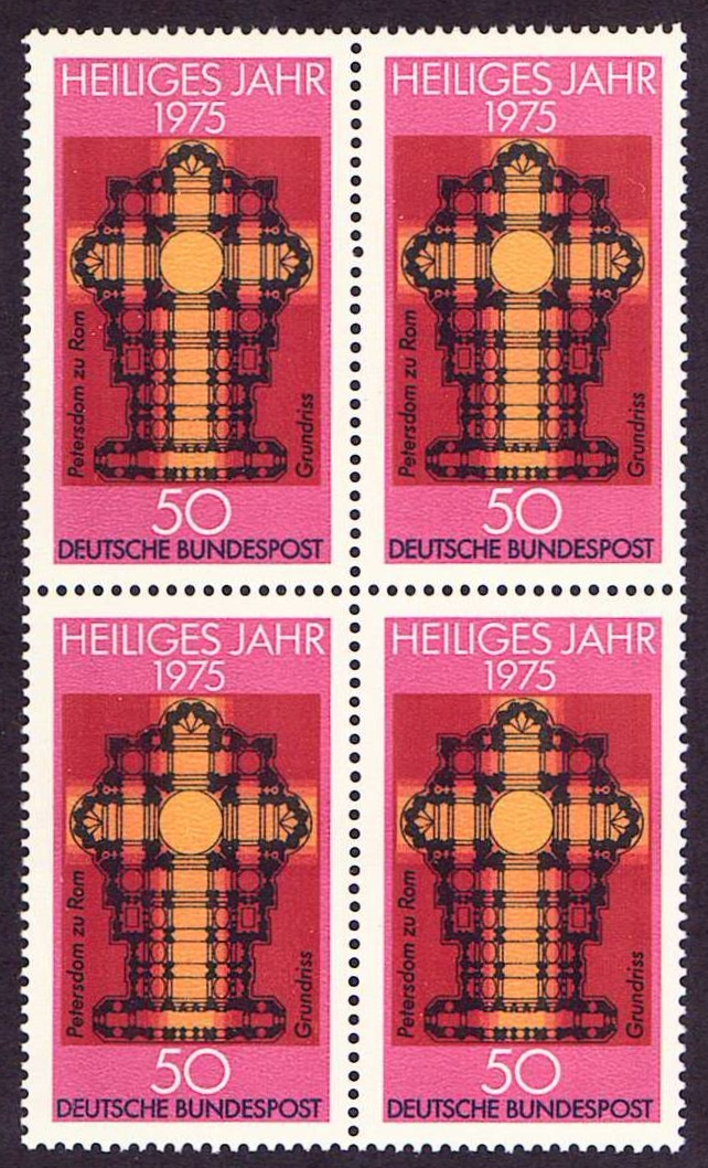 Germany Scott 1162, MNH, Block of 4, Plan of St. Peter's , Rome