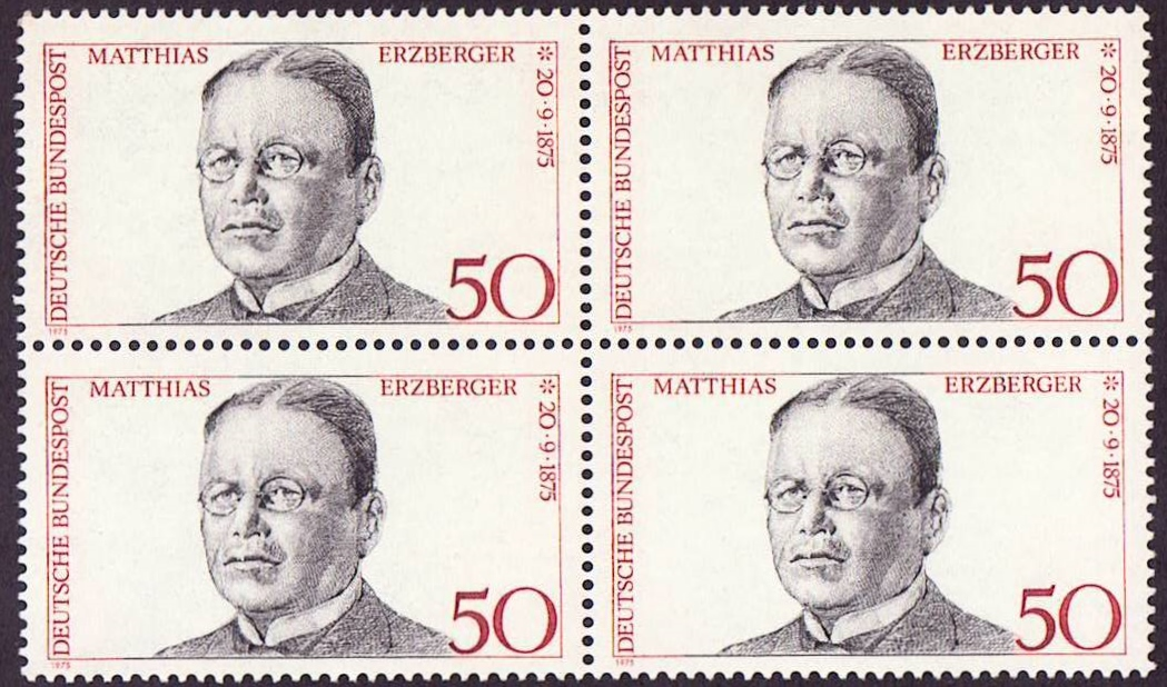 Germany Scott 1201, MNH, Block of 4, BL4, Matthias Erzberger, 18