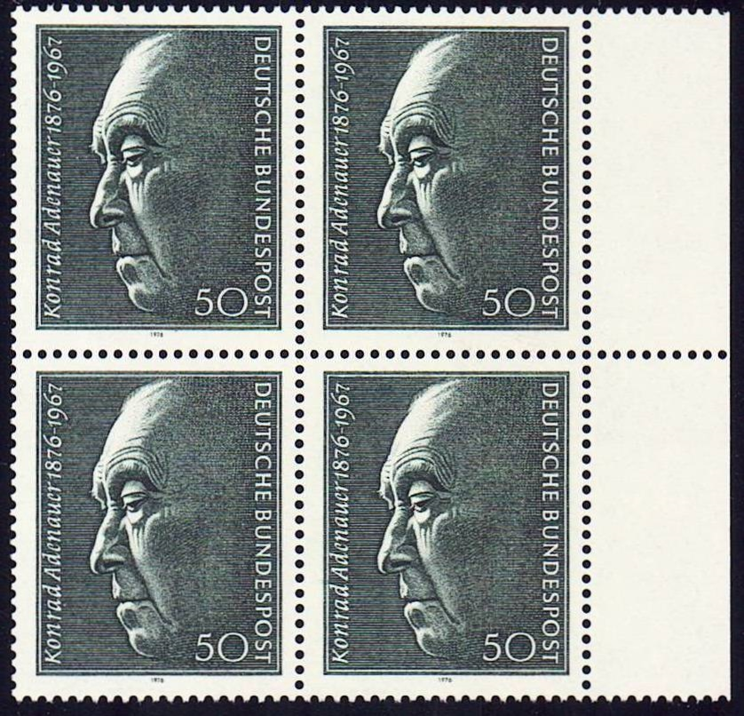 Germany Scott 1205, MNH, Block of 4, BL4, Konrad Adenauer 1876-1