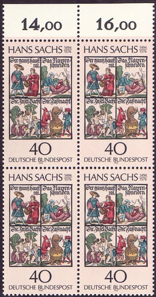 Germany Scott 1206, MNH, Block of 4, BL4, Books by Hans Sachs