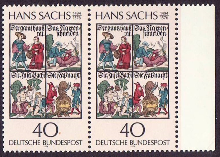 Germany Scott 1206, MNH, Pair, Books by Hans Sachs